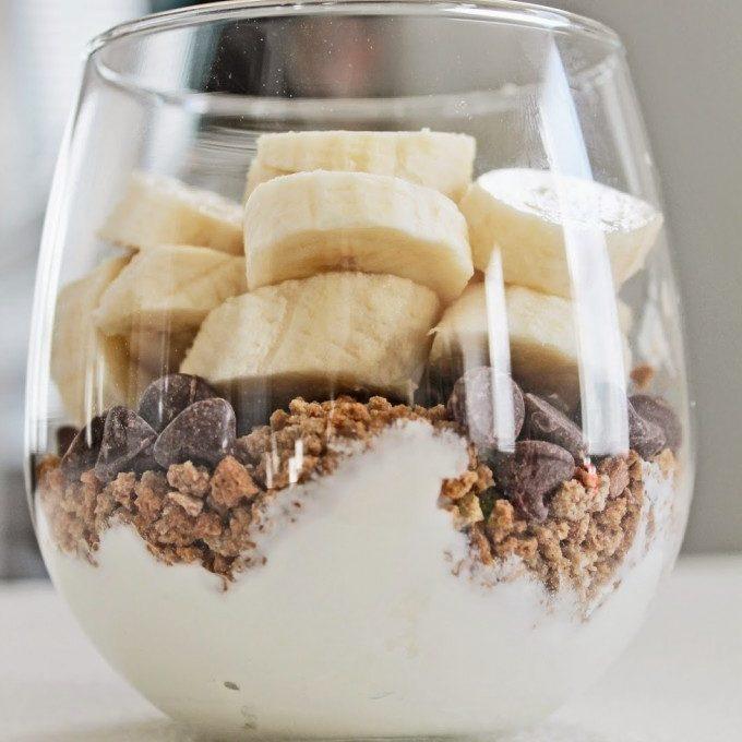 Greek Yogurt Parfait with Banana, Granola and Chocolate Chips
