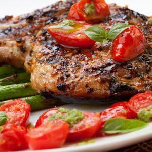 Grilled Pork Chops With Asparagus And Pesto