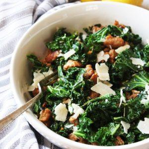 Kale And Turkey Sausage Saute With Parmesan