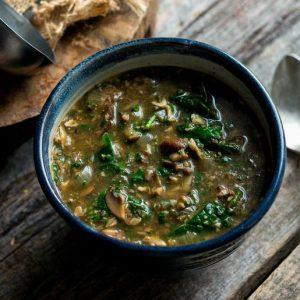 Mushroom Spinach Soup With Middle Eastern Spices