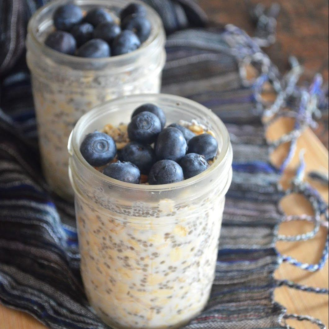 No Cook-Blueberry Vanilla Chia Seeds Oatmeal
