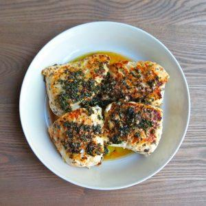 Pan Seared Halibut With Butter Herb Sauce