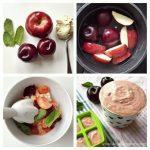 Plums, Apple, Mint, And Tofu Puree