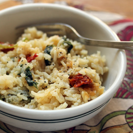 Pressure Cooker Spinach And Kale Risotto