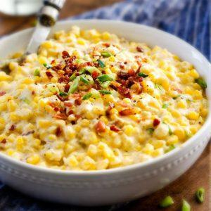 Slow Cooker Creamed Corn With Ricotta, Rosemary And Bacon
