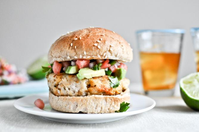 Tilapia Burgers With Watermelon Salsa And Avocado
