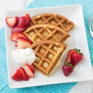 Whole-Wheat Ricotta Waffles With Strawberries And Yogurt