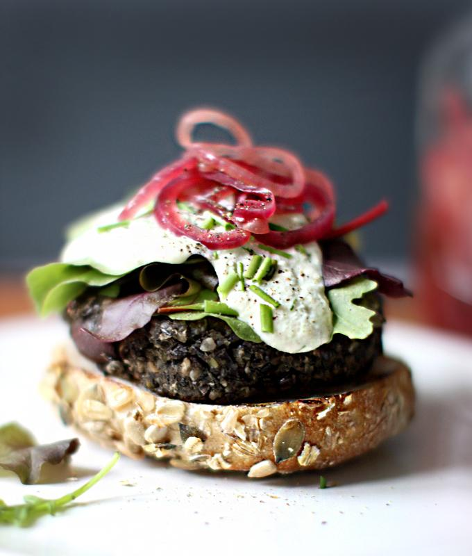 Wild Mushroom Lentil And Olive Burgers With Cashew Garlic Sauce