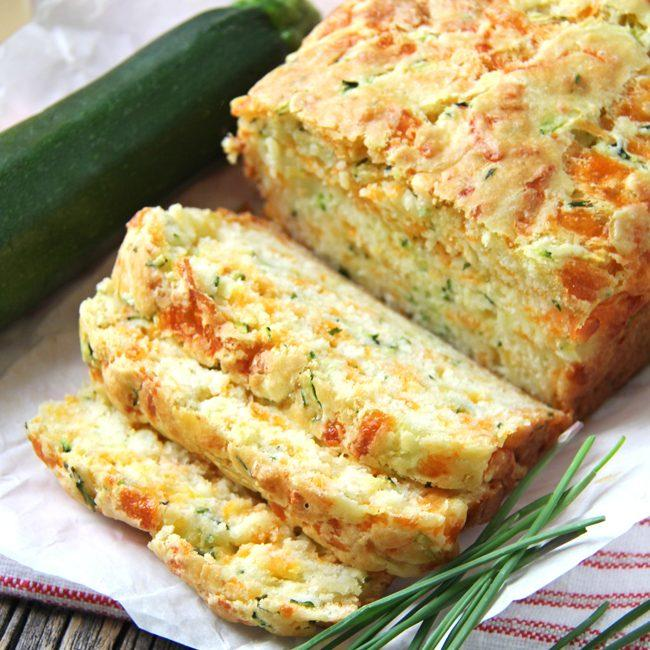 Zucchini, Cheddar Cheese And Chive Buttermilk Quick Bread