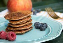 These apple pie pancakes are perfect for fall! These gluten-free pancakes have nutritious almond flour, flaxseed, and fresh apples.