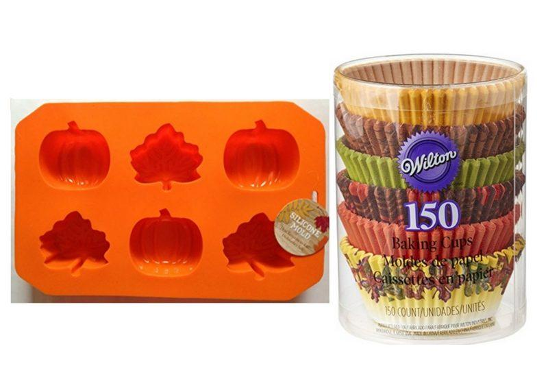 Halloween Cupcake Pan (left) Wilton Fall Baking Cups, 150-Pack (right)