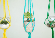 Learn how to make your own macrame plant hanger in only five minutes! Great decoration for all rooms in the house. Budget friendly.