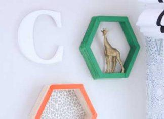 Check out how to make these creative DIY shelves. These DIY shelves are made completely with popsicle sticks. Easy and simple room decor!