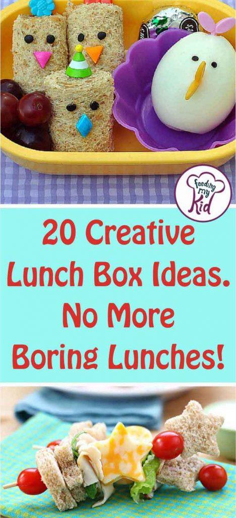 Are your kids tired of the same sandwich in their lunch box? Try these creative lunch box ideas instead. No more boring lunches!