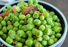 Buttery Garlic and Bacon Peas