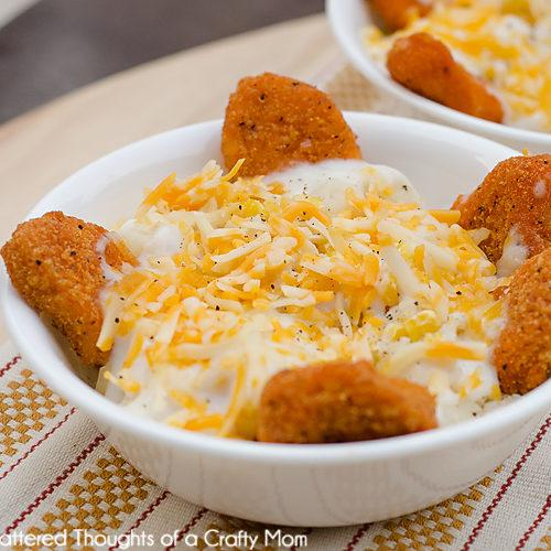 Chicken Nugget Mashed Potato Bowls