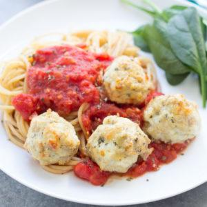 Chicken Parmesan Meatballs with Easy Tomato Sauce
