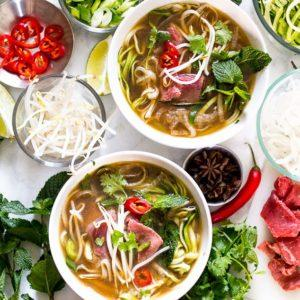 Daikon and Zucchini Noodle Pho