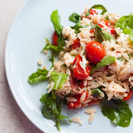 Lemony Orzo, Roasted Tomato and Arugula Salad