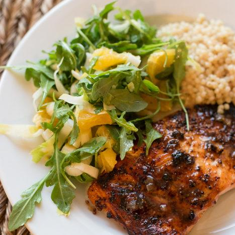 Mustard Glazed Salmon With Arugula And Oranges