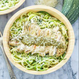 Pesto Chicken With Zucchini Noodles