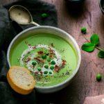 Roasted Garlic Green Peas Soup