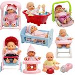 """Set Of 8 Assorted 5"""" Mini Dolls, High Chair, Stroller, Crib, Car Seat, Bath, Potty, Swing"""