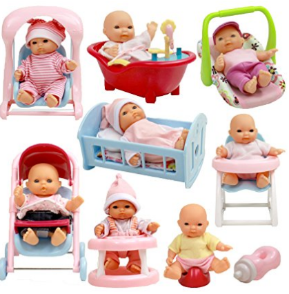 Set Of 8 Assorted 5'' Mini Dolls, High Chair, Stroller, Crib, Car Seat, Bath, Potty, Swing
