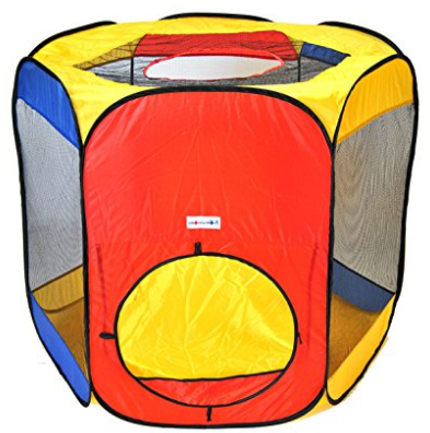 Six Sided Hexagon Twist Play Tent w/ Ball Stopper and Safety Meshing for Child Play Visibility