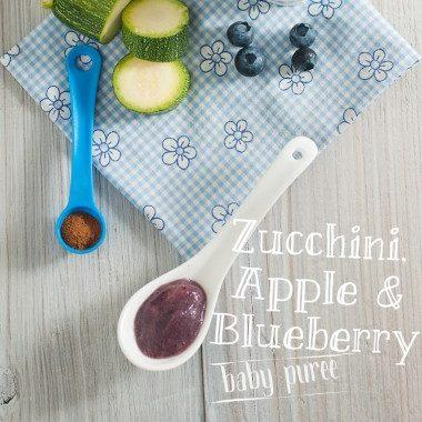 Zucchini Apple Blueberry and Cinnamon Baby Puree