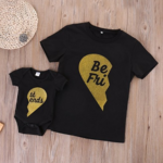 Mom and Baby Parent-Child Best Friend Printed Shirt Romper Family Clothes Outfits