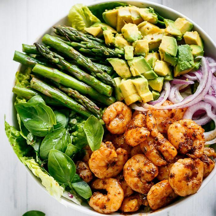 Blackened Shrimp, Asparagus And Avocado Salad