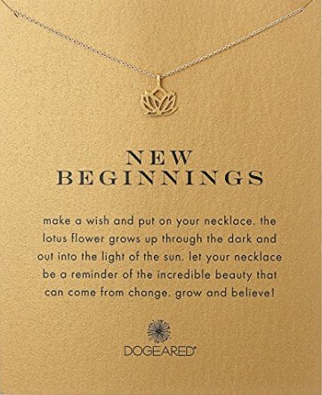 "Dogeared ""Reminders"" New Beginnings Rising Lotus Pendant Necklace"