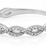 Gold Round Diamond Ladies Swirl Anniversary Wedding Band Stackable Ring