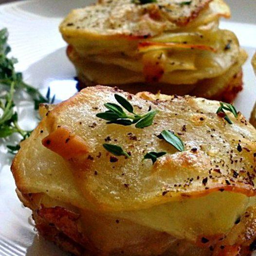 Smoked Gouda Muffin Tin Potato Stacks