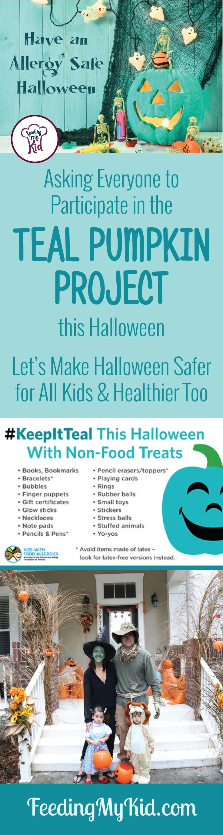 Halloween treats for kids don't have to be candy. Change how your kids are trick or treating! Find out more about the Teal Pumpkin Project.