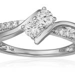 Two Stone Diamond 14k White Gold Ring