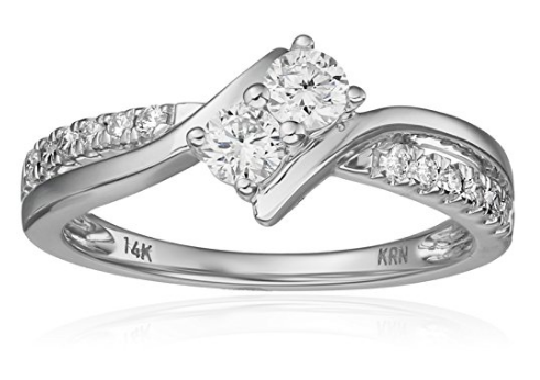 Two Stone Diamond 14k White Gold Ring