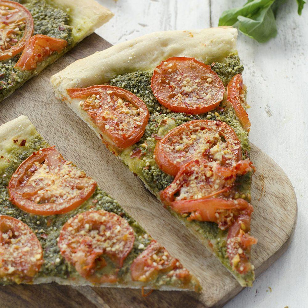 Vegan Pesto And Roasted Tomato Pizza