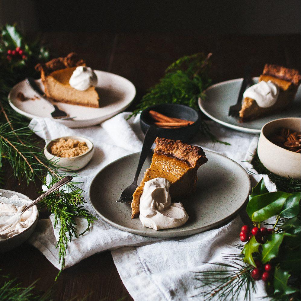 Brown Butter Pumpkin Pie with a Pecan Crust and Brown Butter Chantilly