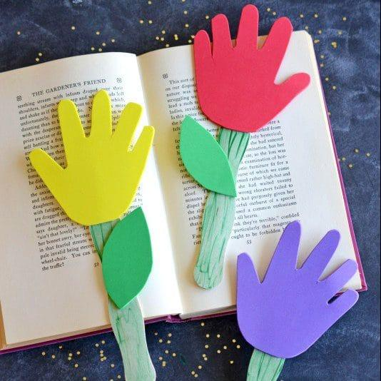 Hand Print Flower Diy Bookmarks For Kids
