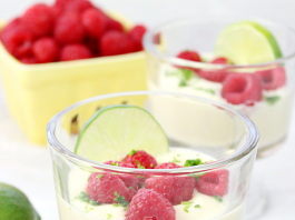 Lime Posset with Fresh Raspberries
