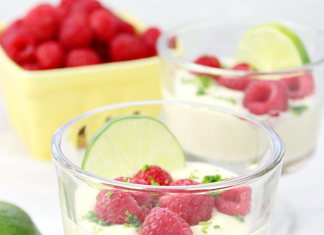 Lime Posset with Fresh Raspberries