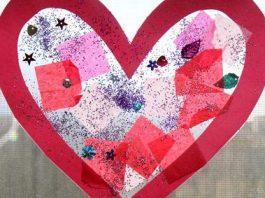Simple Valentine's Day Heart Suncatcher