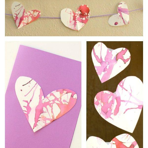 Straw Blown Hearts- Valentine's Cards For Kids