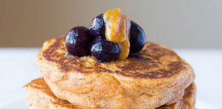 Sweet Potato Pancakes With Peanut Butter Maple Syrup