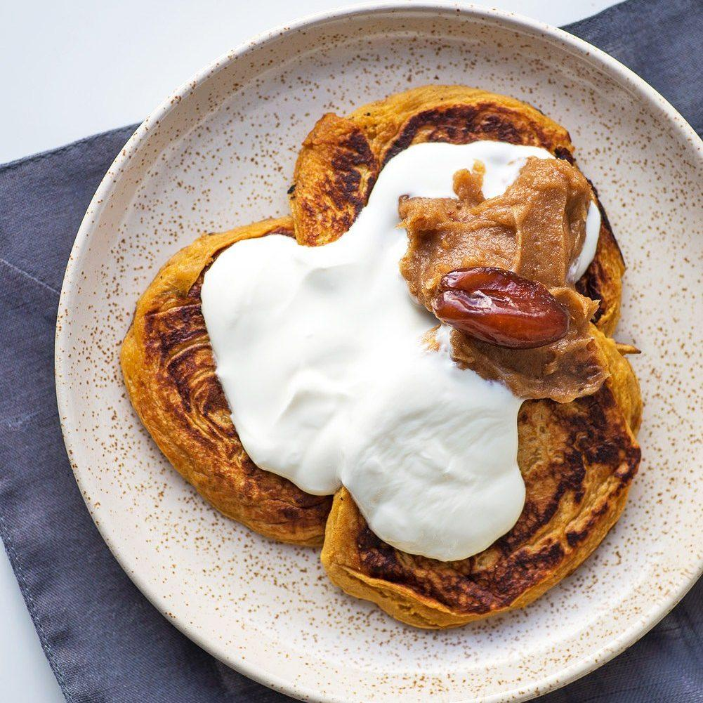 Sweet Potato Pancakes with Yogurt and Date Paste