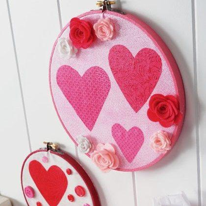 Valentine's Day Embroidery Hoops