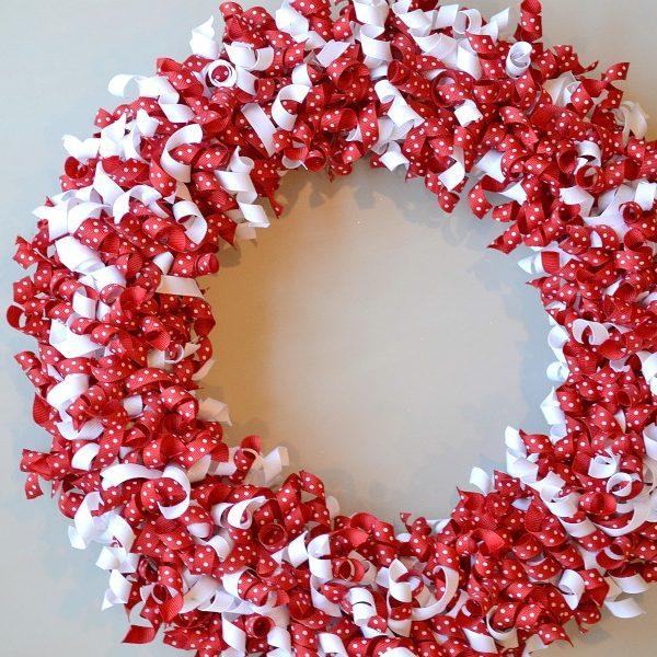 Valentine's Day Wreath Using Curled Grosgrain Ribbon