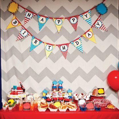 Whimsical Dr Seuss First Birthday Party